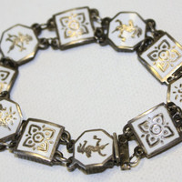 Vintage White Enamel Siam Sterling Bracelet by patwatty on Etsy