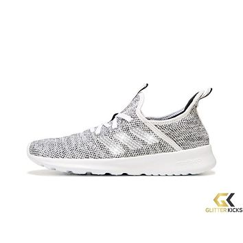 Women's Adidas Cloudfoam Pure Sneaker + Crystals - White/Black