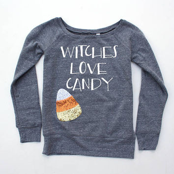 Sequin Witches Love Candy Halloween Candy Corn Shirt Sweatshirt. Halloween Shirt. Sparkly Patch. Fall Top. Fall Fashion. Bitches Shirt