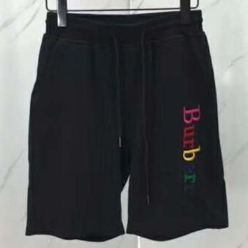 Burberry 2018 new shorts rainbow embroidered couple shorts F-CN-CFPFGYS black