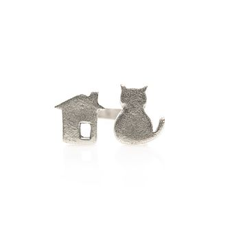 Cat House Antique Silver Plated Adjustable Ring