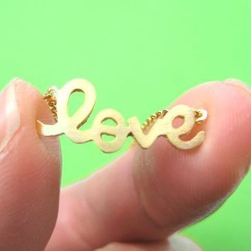 Love Cursive Hand Written Pendant Necklace in Gold | DOTOLY