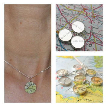 Handwritten Engraved Petite Vintage Map Sterling by dlkdesigns