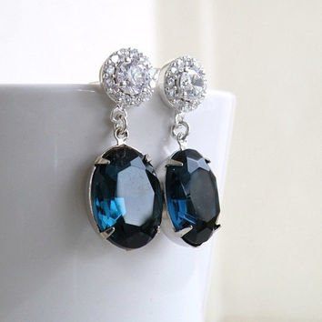 6 pairs Sapphire Jewelry Bridal Earrings Montana Navy Blue Oval Stone Silver Stud Post Estate Style Bridesmaids Jewelry
