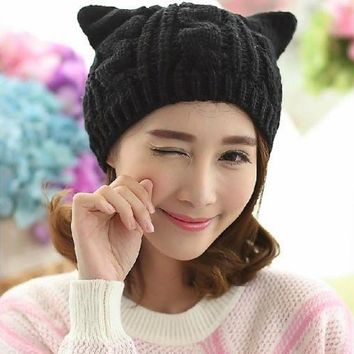 Women Devil Horns Cat Ear Cute Crochet Knit Beanie Ski Wool Warm Cap Hat KC118