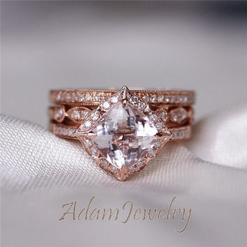 Exceptionnel 7mm Cushion Morganite Engagement Ring Set Sol.