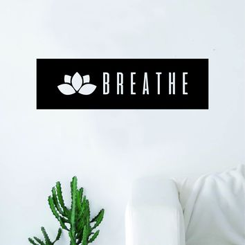 Lotus Flower Breathe Rectangle Wall Decal Sticker Vinyl Art Bedroom Living Room Decor Quote Namaste Yoga Meditate