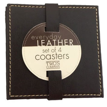 Two's Company Brown Leather Coasters - Set of 4