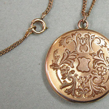 Art Nouveau Victorian Locket Floral Shield Engraving Gold Filled