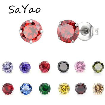 2Pieces 4mm Colorful Stainless Steel Stud Earring Round Crystal Tragus Earrings Cubic Zirconia Helix Body Piercing Jewelry Women
