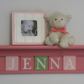 "Baby Gift Shower Gift - Baby Girl Nursery Decor Personalized for JENNA - 24"" Pink Shelf  / Sign with 5 Wooden Letters Pinks Green"