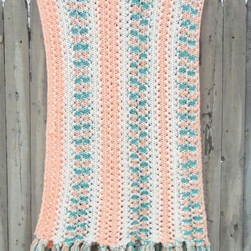 Vintage peach teal blue white crochet afghan throw blanket