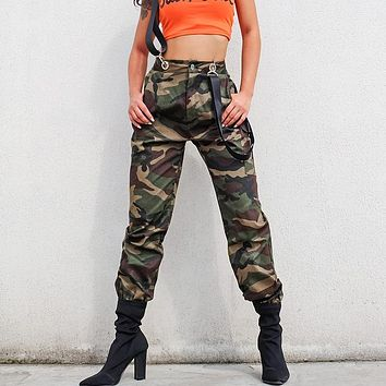 Women Casual Fashion Camouflage Back Strap Cargo Pants Leisure Pants Trousers