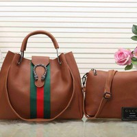Gucci Women Shopping Leather Tote Handbag Satchel Crossbody Set Two-Piece G-LLBPFSH