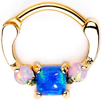 Blue Square Synthetic Opal Gold Tone Anodized Septum Clicker