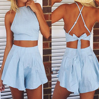 2017 Summer women set solid 2 pcs Hawaii beach woman set sexy lace up backless bow cropped tops mini short pant party clubwear