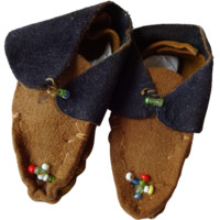Indian Doll Moccasins Shoes Suede Leather Beaded Native American Medium Doll