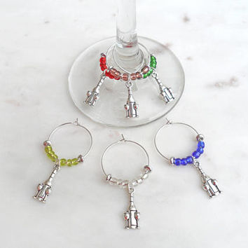 Wine Charms - Wine Bottle Charm Set of 6 - Gift For Wine Lovers - Wine Glass Identifiers - Foodie Gifts - Housewarming Party - Wedding Gift