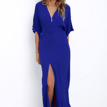 Where the Wind Blows Royal Blue Maxi Dress