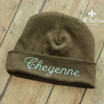 Personalized Baby Beanie with Name - Brown and Teal - You Pick Name Color! - Monogrammed - Custom Hat - Hospital Cap - Keepsake