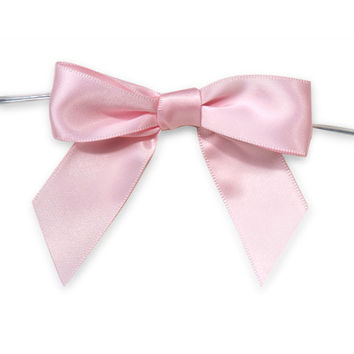Pre-Tied Satin Bows, 7/8-inch, 12-pack, Pink