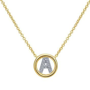 Yellow Gold Initial Diamond Necklace with Gold Circle Design