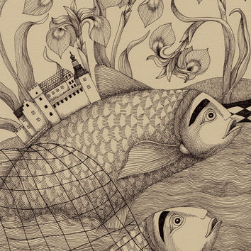 The Golden Fish (1) Art Print by Judith Clay