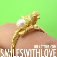 Adjustable Bird Animal Ring in Gold with Pearl Detail