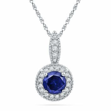 10kt White Gold Women's Round Lab-Created Blue Sapphire Solitaire Diamond Frame Pendant 1-6 Cttw - FREE Shipping (US/CAN)