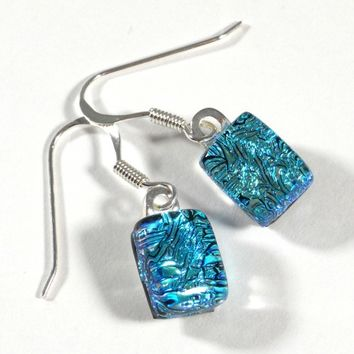 Dichroic Glass Dangle Earrings, Rectangle Sparkling Aqua Blue