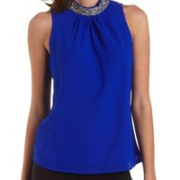 Beaded Mock Neck Chiffon Top by Charlotte Russe - Bright Cobalt