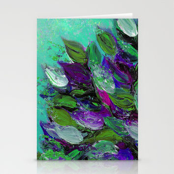 BLOOMING BEAUTIFUL 1 - Floral Painting Mint Green Seafoam Purple White Leaves Petals Summer Flowers Stationery Cards by EbiEmporium