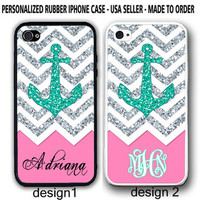Personalized MONOGRAM PINK CHEVRON ANCHOR iPhone 4 4s / 5 5s Rubber Case Cover