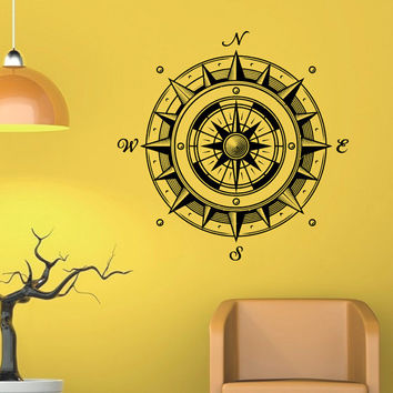 Wall Decal Nautical Compass Rose Wall Decor Navigate Ship Ocean Sea Sticker- Compass Rose Wall Decal For Living Room Bedroom Office C043
