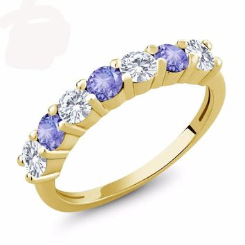 1.10 Ct Created Moissanite Blue Tanzanite 18K Yellow Gold Plated Silver Ring