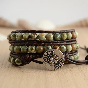 Natural wrap bracelet. Earthy boho chic bracelet