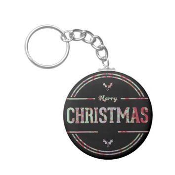 Merry Christmas Greeting Keychain