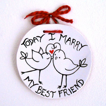 Love Bird Ring Bearer Bowl, Pillow - Today I Marry My Best Friend - HandMade & Painted Red Heart Dish for Wedding, Commitment Vow Ceremony