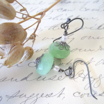 Glass Bead Earrings  with Freshwater Pearl by 636designs on Etsy