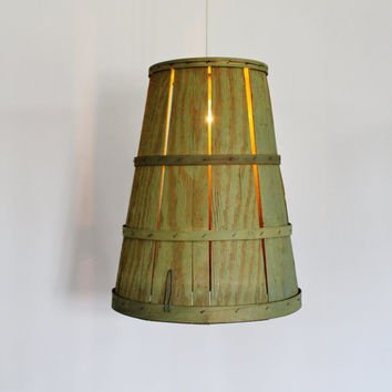 ORCHARD BASKET Pendant Lamp - Upcycled Hanging Lighting Fixture Made With A Vintage Tall Green Harvest Basket - Rustic BootsNGus Lamps