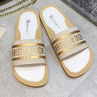 Christian Dior Summer Fashion Women Letter Sandals Flat-Soled Slippers Shoes White