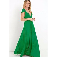 Emerald Green Multi way Convertible Wrap Maxi Dress Dresses