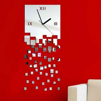 MOSAIC Pattern Clock Art 3D Wall Stickers Home Decoration DIY Vinilos Paredes Wall Home Decor