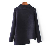 Navy Mock Neck Asymmetric Hem Sweater