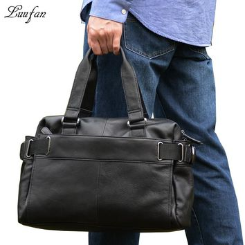Men's genuine leather laptop tote bag real leather business messenger bag Cow leather PC handbag big leather briefcase