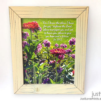 For I Know The Plans I Have For You - Jeremiah 29:11 - Framed 8x10 Print - Christian Scripture Art