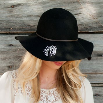 Monogrammed Wool Floppy Hat