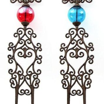 Cast Iron Garden Stakes -Set Of 2 Red & Blue Glass Believe & Dream