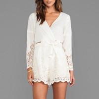 Zimmermann Keeper Broidery Wrap Playsuit in Cream
