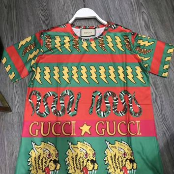 """""""Gucci""""Woman's Leisure  Fashion Letter Personality Printing Spell Color Loose Short Sleeve Tops"""